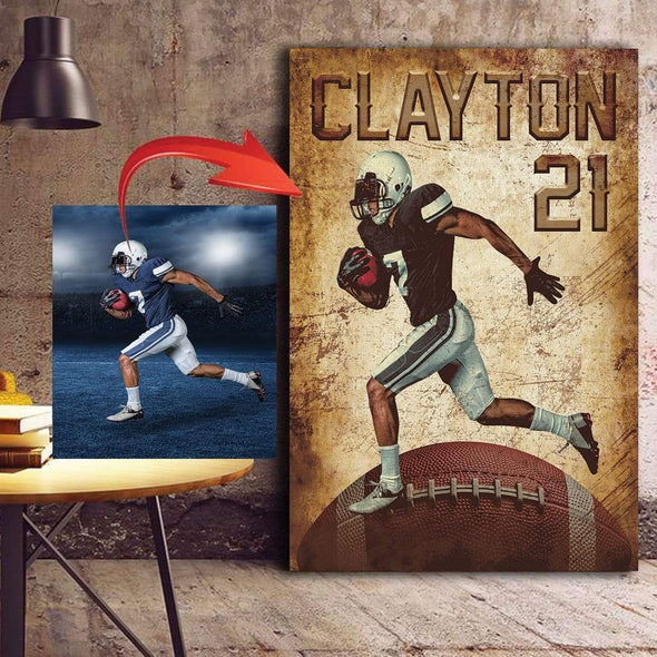 manual canvas CANVAS - 12X18in Football Personalize Photo custom canvas prints - #091019H