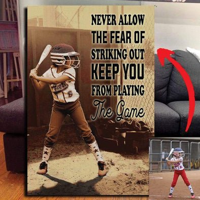 manual Canvas CANVAS - 12X18in Softball custom canvas prints - Never Let The Fear #1010H