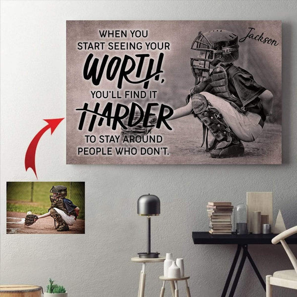 manual canvas CANVAS - 18X12in Baseball custom canvas prints #0410H