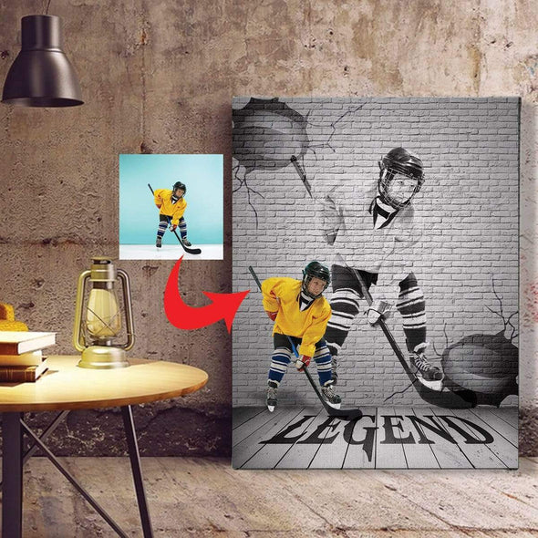 manual canvas Custom Canvas Prints Baseball Player With Photo #163h