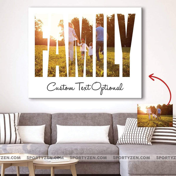 manual canvas Custom Family canvas prints with Your photo and Your Text #110420L