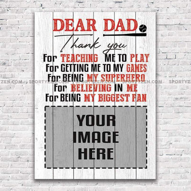 manual canvas Dear Dad Thank you for teaching me to play Custom Softball Canvas with Photo #0606h
