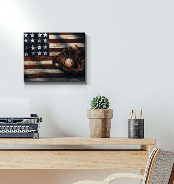 GearLaunch Canvas Prints Baseball Custom Canvas prints Flag