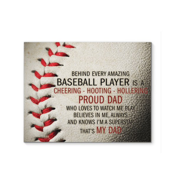 GearLaunch Canvas Prints Baseball Custom Canvas prints Proud Dad