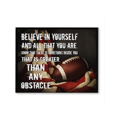GearLaunch Canvas Prints Football  Canvas wall art  Believe in yourself and all that you are