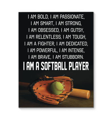 GearLaunch Canvas Prints Softball Custom Canvas prints I am a softball player