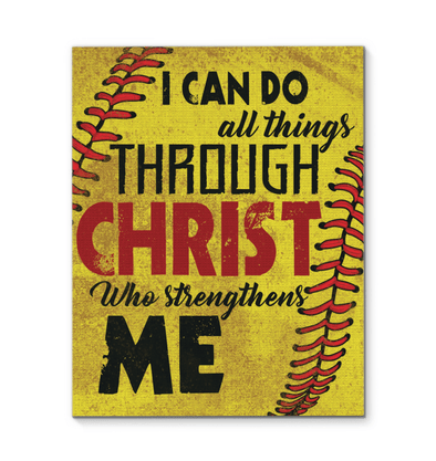 GearLaunch Canvas Prints Softball Custom Canvas prints I can do all things