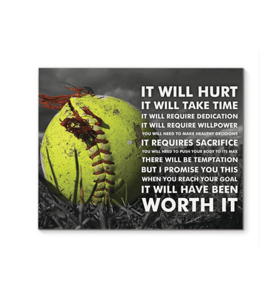 GearLaunch Canvas Prints Softball Custom Canvas prints It will hurt