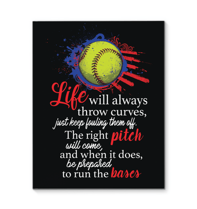GearLaunch Canvas Prints Softball Custom Canvas prints Life will all throw curves