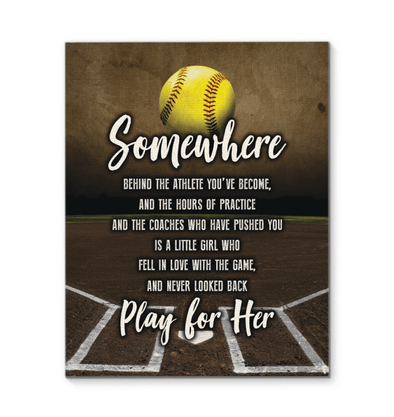 GearLaunch Canvas Prints Softball Custom Canvas prints Play for her