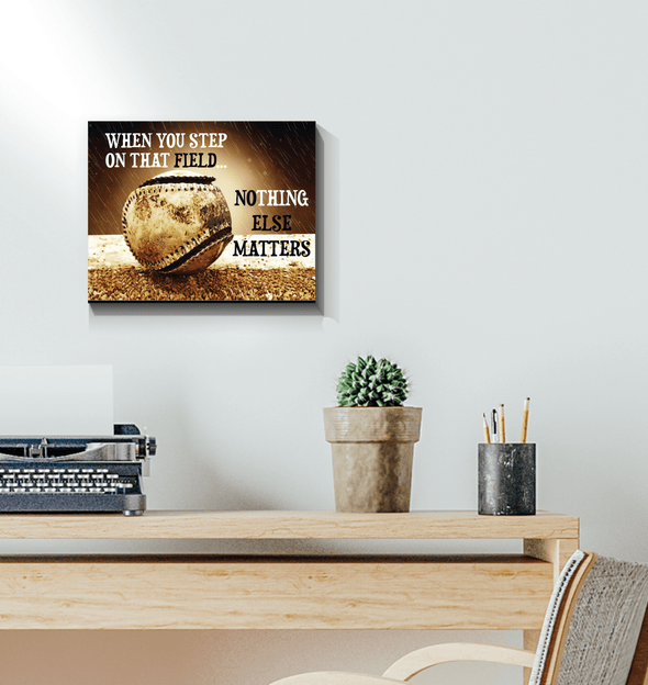 GearLaunch Canvas Prints Wrapped Canvas 11x14 Horizontal / White Baseball Custom Canvas prints Nothing else matters