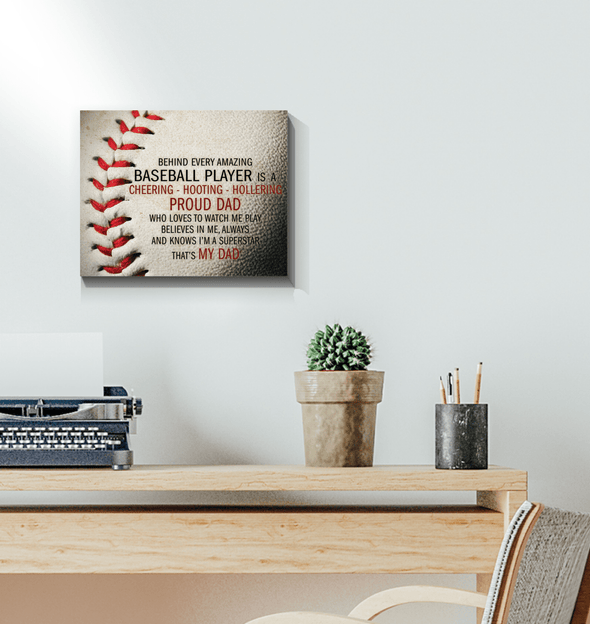 GearLaunch Canvas Prints Wrapped Canvas 11x14 Horizontal / White Baseball Custom Canvas prints Proud Dad