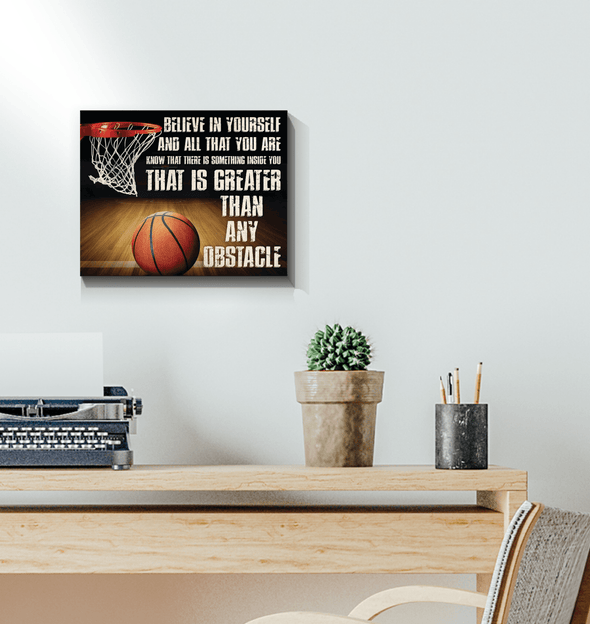 GearLaunch Canvas Prints Wrapped Canvas 11x14 Horizontal / White Basketball Custom Canvas prints Belive in yourself and all that you are