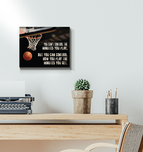 GearLaunch Canvas Prints Wrapped Canvas 11x14 Horizontal / White Basketball Custom Canvas prints You can control how you play the minutes you get