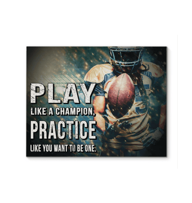 GearLaunch Canvas Prints Wrapped Canvas 11x14 Horizontal / White Football Custom Canvas prints Play like a champion