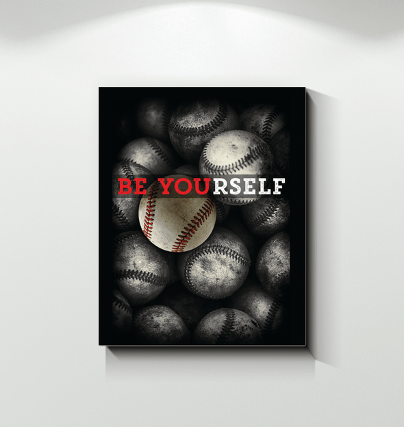 GearLaunch Canvas Prints Wrapped Canvas 11x14 / White Baseball Custom Canvas prints Be Yourself