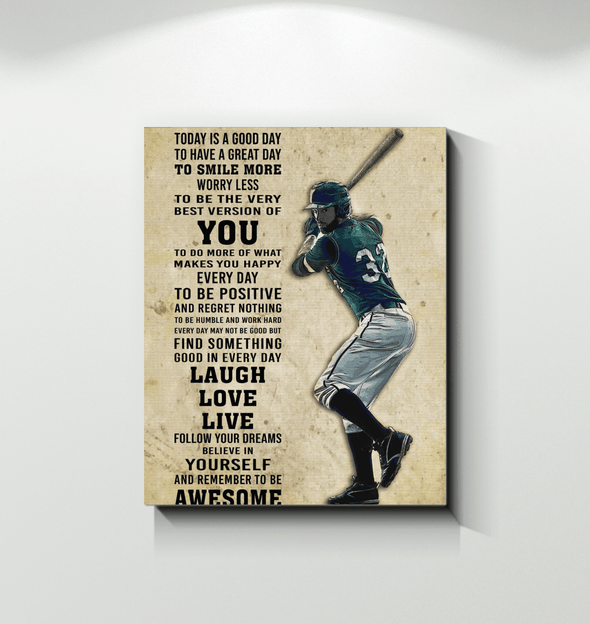 GearLaunch Canvas Prints Wrapped Canvas 11x14 / White Baseball Custom Canvas prints Today is a good day