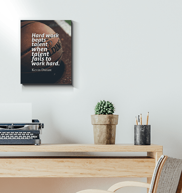 GearLaunch Canvas Prints Wrapped Canvas 11x14 / White Basketball Custom Canvas prints Hard work beats talent when talent fails to work hard