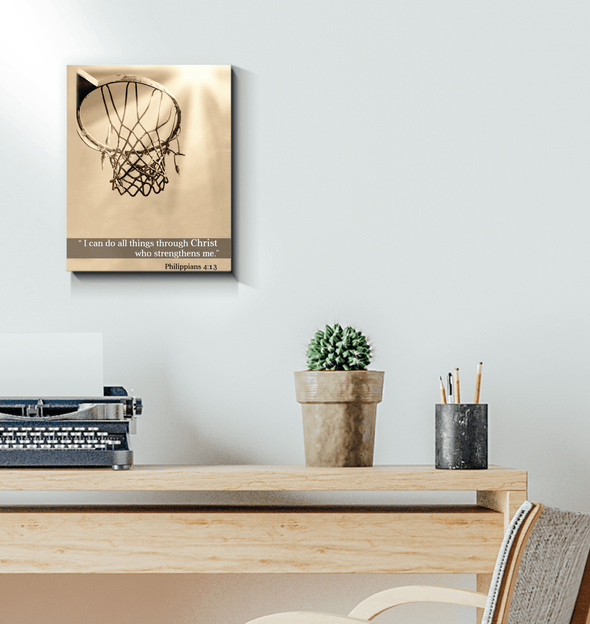 GearLaunch Canvas Prints Wrapped Canvas 11x14 / White Basketball Custom Canvas prints I can do all things