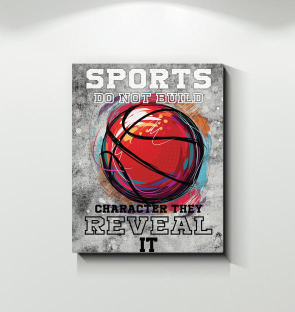 GearLaunch Canvas Prints Wrapped Canvas 11x14 / White Basketball Custom Canvas prints Sports do not build the character