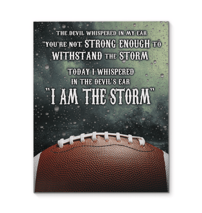 GearLaunch Canvas Prints Wrapped Canvas 11x14 / White Football Custom Canvas prints I am the storm