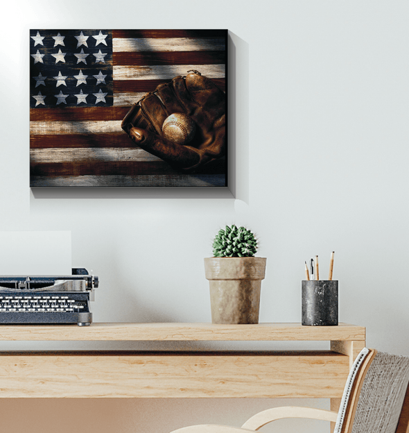 GearLaunch Canvas Prints Wrapped Canvas 16x20 Horizontal / White Baseball Custom Canvas prints Flag