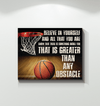 GearLaunch Canvas Prints Wrapped Canvas 16x20 Horizontal / White Basketball Custom Canvas prints Belive in yourself and all that you are