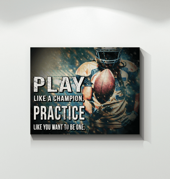 GearLaunch Canvas Prints Wrapped Canvas 16x20 Horizontal / White Football Custom Canvas prints Play like a champion