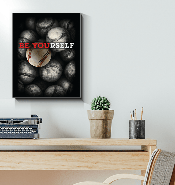 GearLaunch Canvas Prints Wrapped Canvas 16x20 / White Baseball Custom Canvas prints Be Yourself