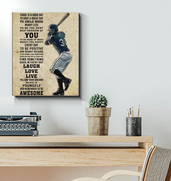 GearLaunch Canvas Prints Wrapped Canvas 16x20 / White Baseball Custom Canvas prints Today is a good day