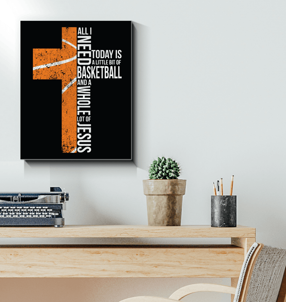 GearLaunch Canvas Prints Wrapped Canvas 16x20 / White Basketball Custom Canvas prints Christ