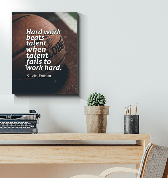 GearLaunch Canvas Prints Wrapped Canvas 16x20 / White Basketball Custom Canvas prints Hard work beats talent when talent fails to work hard