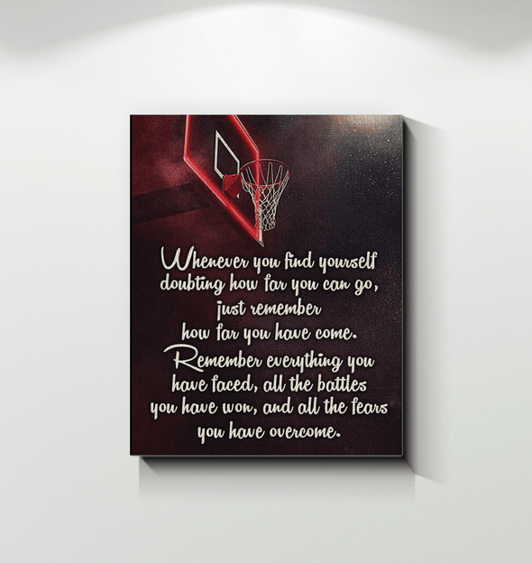 GearLaunch Canvas Prints Wrapped Canvas 16x20 / White Basketball Custom Canvas prints Remember everything you have faced