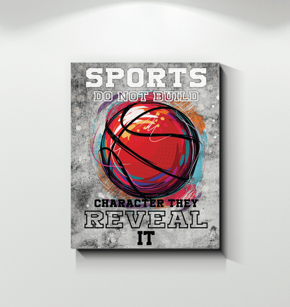 GearLaunch Canvas Prints Wrapped Canvas 16x20 / White Basketball Custom Canvas prints Sports do not build the character