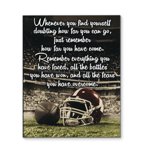 GearLaunch Canvas Prints Wrapped Canvas 16x20 / White Football Custom Canvas prints Remember