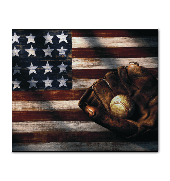 GearLaunch Canvas Prints Wrapped Canvas 20x24 Horizontal / White Baseball Custom Canvas prints Flag