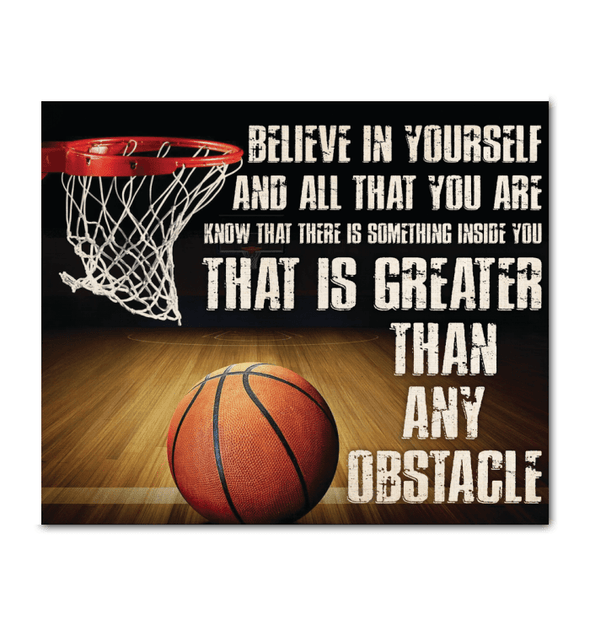 GearLaunch Canvas Prints Wrapped Canvas 20x24 Horizontal / White Basketball Custom Canvas prints Belive in yourself and all that you are