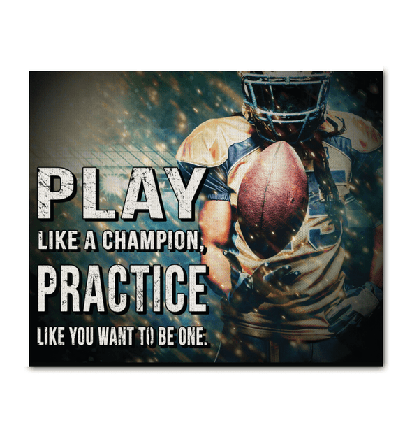 GearLaunch Canvas Prints Wrapped Canvas 20x24 Horizontal / White Football Custom Canvas prints Play like a champion