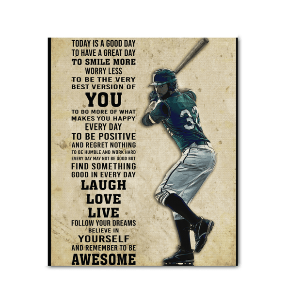 GearLaunch Canvas Prints Wrapped Canvas 20x24 / White Baseball Custom Canvas prints Today is a good day