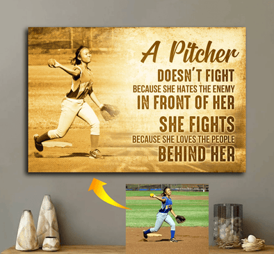 manual canvas Softball custom canvas prints - A pitcher #091119H