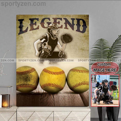 manual canvas Softball custom canvas prints with photo - Legend #263v