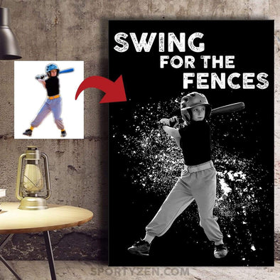 manual canvas Swing for the fences Softball Custom Canvas Prints With Photo - #173l