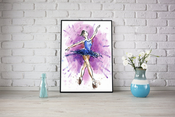 Watercolor Ballerina Art Drawing Canvas Prints #1108HL