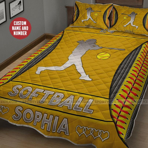 Sportyzen Custom Softball Player Quilt Bed Set with name #2005h
