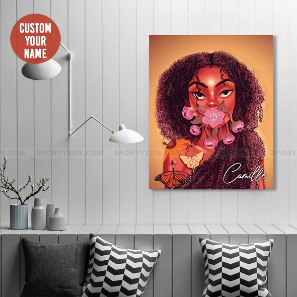 Beautiful Black women afro with flower and butterfly African Canvas Wall Art #1106h