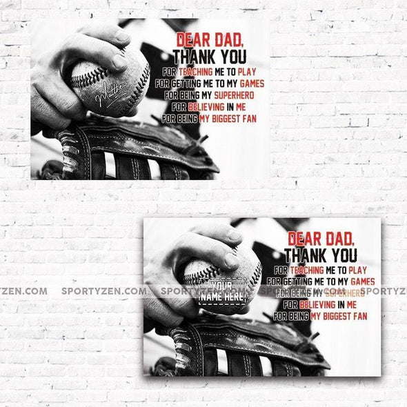 Custom Dear Dad Baseball & Softball Father's Day Wall Art Canvas Prints #125h