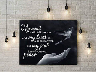 Customcat Decor My mind still talks to you Hummingbird Canvas Print