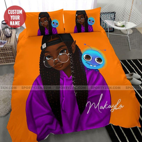 Black Cute Girl Hat Glasses Custom name Duvet Cover Bedding Set #1706L