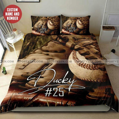 Baseball Ball In Glove Custom Duvet Cover Bedding Set with Your Name #118l