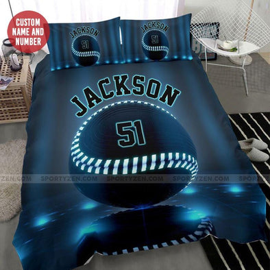 Baseball Blue Light Custom Duvet Cover Bedding Set with Your Name #1808L